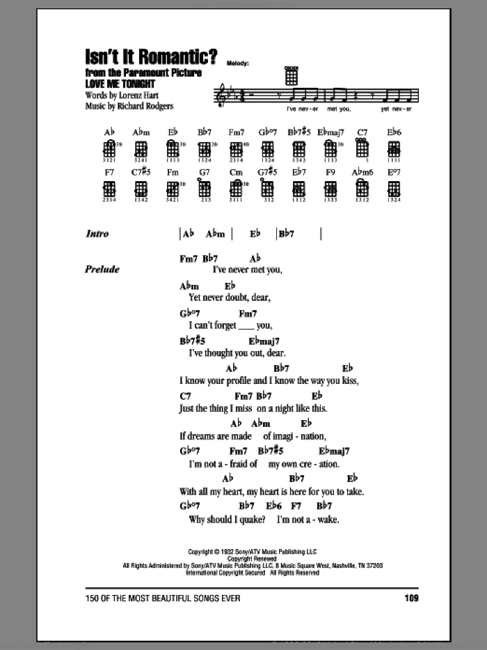 Isn't It Romantic? sheet music for ukulele (chords) by Rodgers & Hart, Lorenz Hart, Richard Rodgers and Shirley Horn, intermediate. Score Image Preview.
