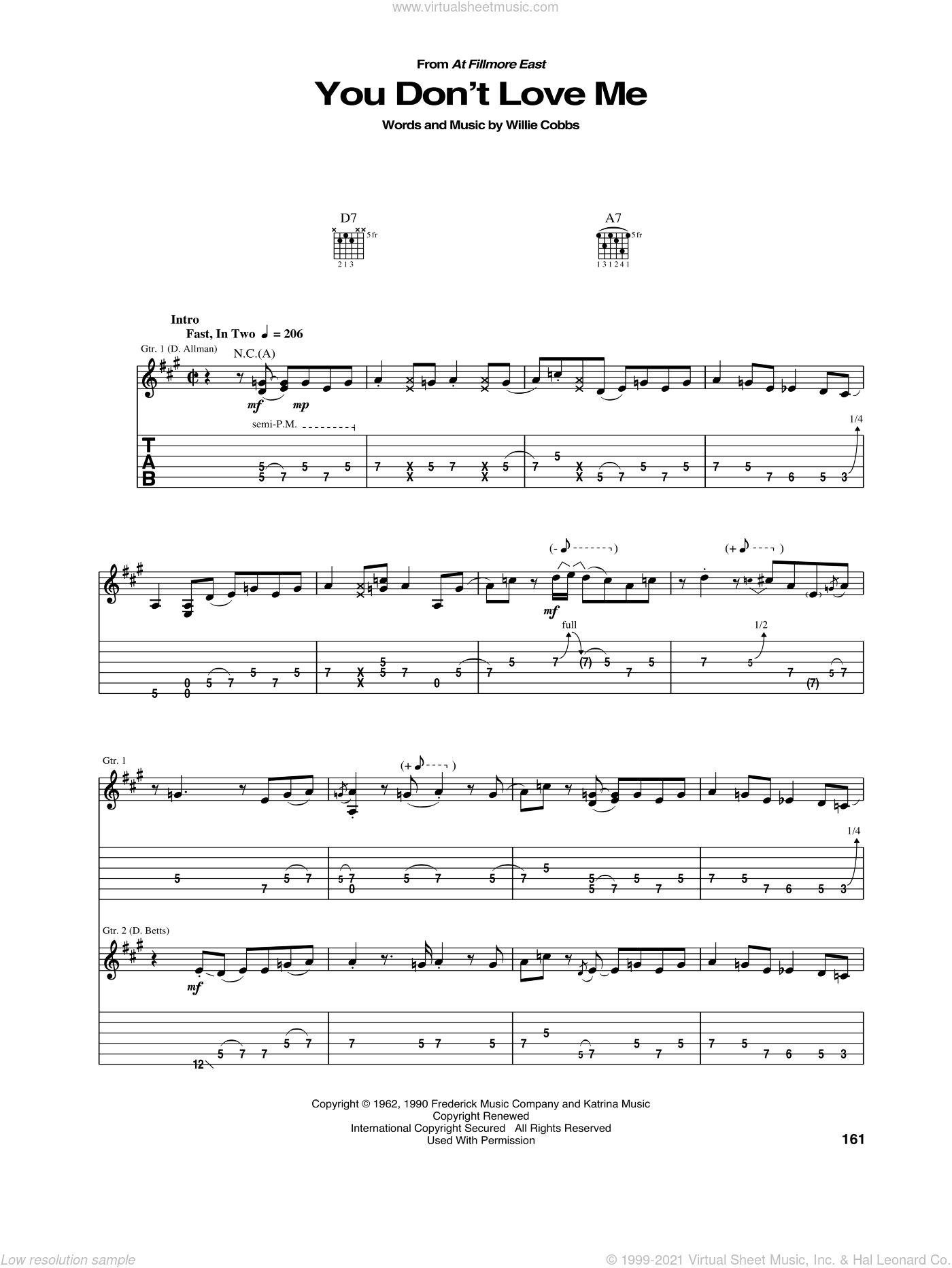 You Don't Love Me sheet music for guitar (tablature) by Allman Brothers Band, intermediate skill level