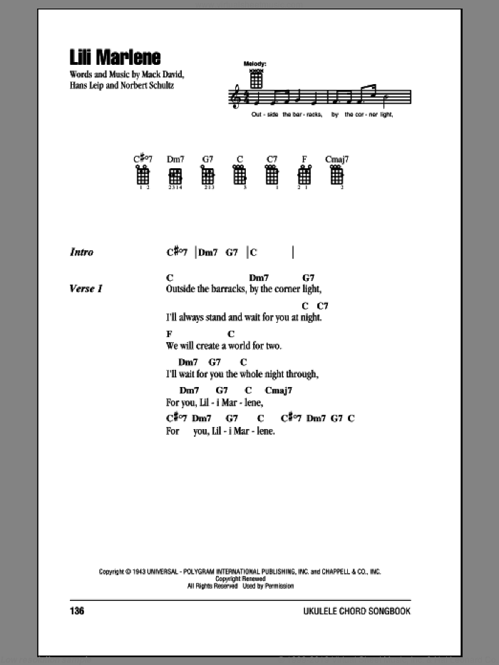 Lili Marlene sheet music for ukulele (chords) by Mack David and Norbert Schultze, intermediate. Score Image Preview.