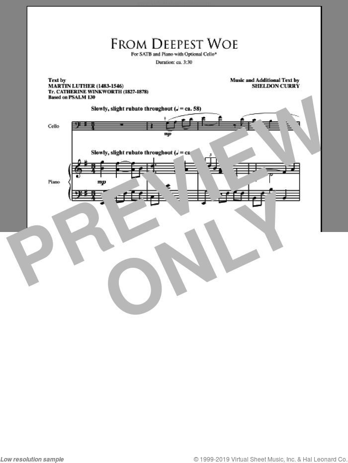 From Deepest Woe sheet music for choir (SATB) by Martin Luther and Sheldon Curry. Score Image Preview.