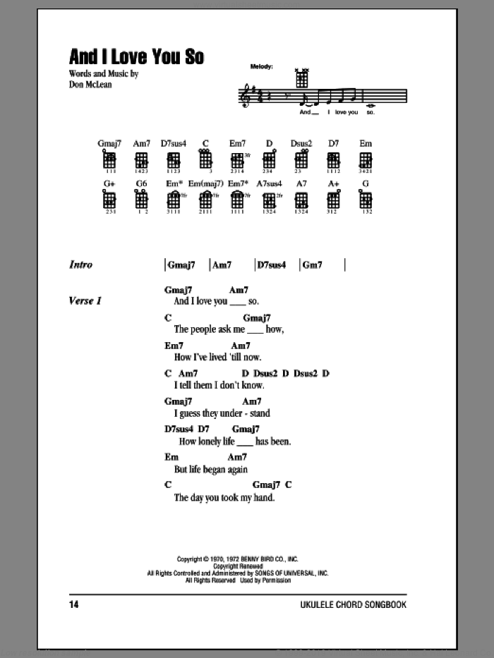 And I Love You So sheet music for ukulele (chords) by Don McLean, Bobby Goldsboro and Perry Como, intermediate ukulele (chords). Score Image Preview.
