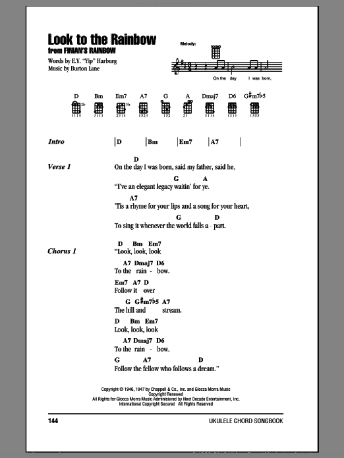Harburg Look To The Rainbow Sheet Music For Ukulele Chords