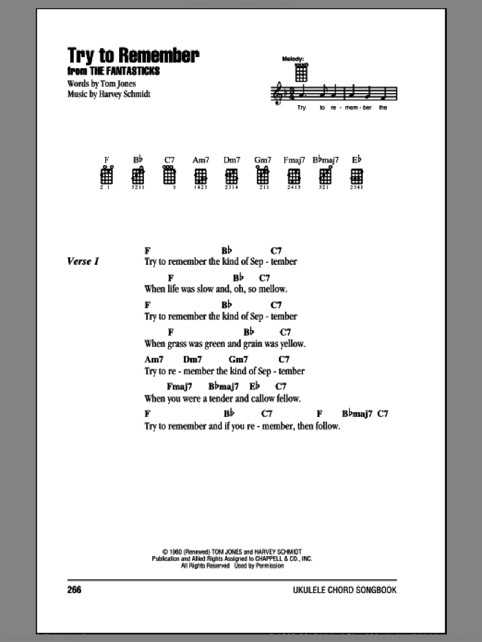 Try To Remember sheet music for ukulele (chords) by Tom Jones and Harvey Schmidt, intermediate ukulele (chords). Score Image Preview.