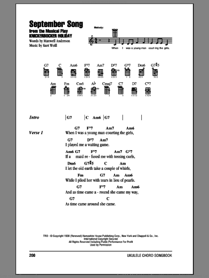 September Song sheet music for ukulele (chords) by Frank Sinatra