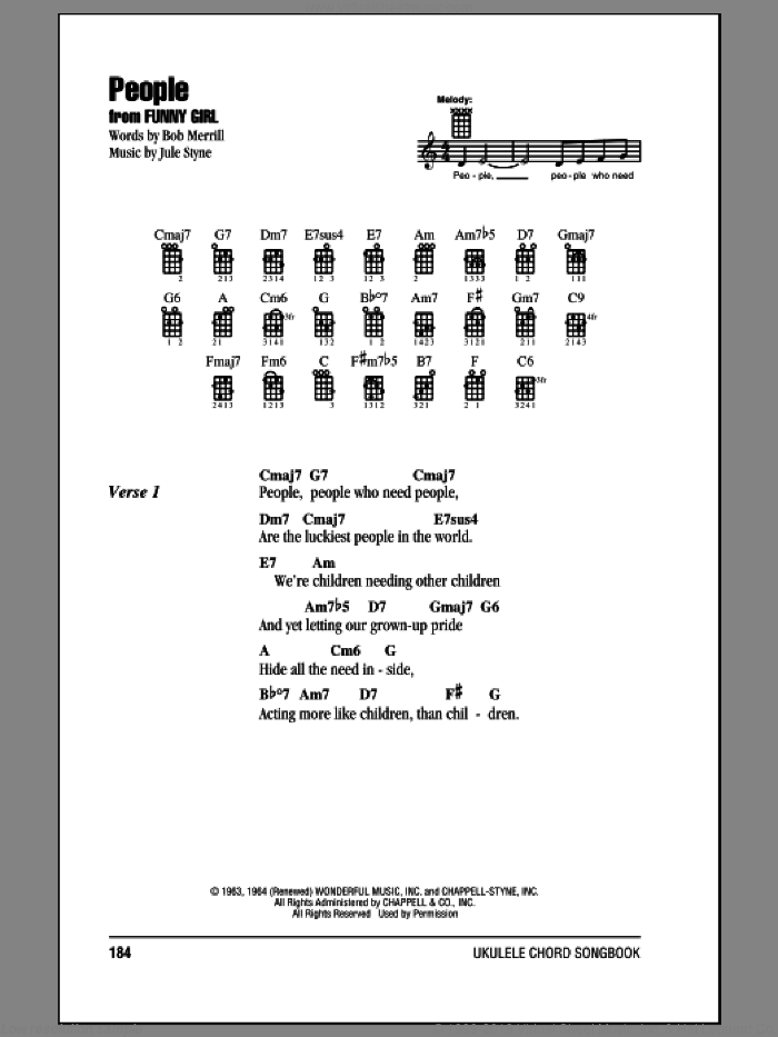 People sheet music for ukulele (chords) by Barbra Streisand, Bob Merrill and Jule Styne. Score Image Preview.