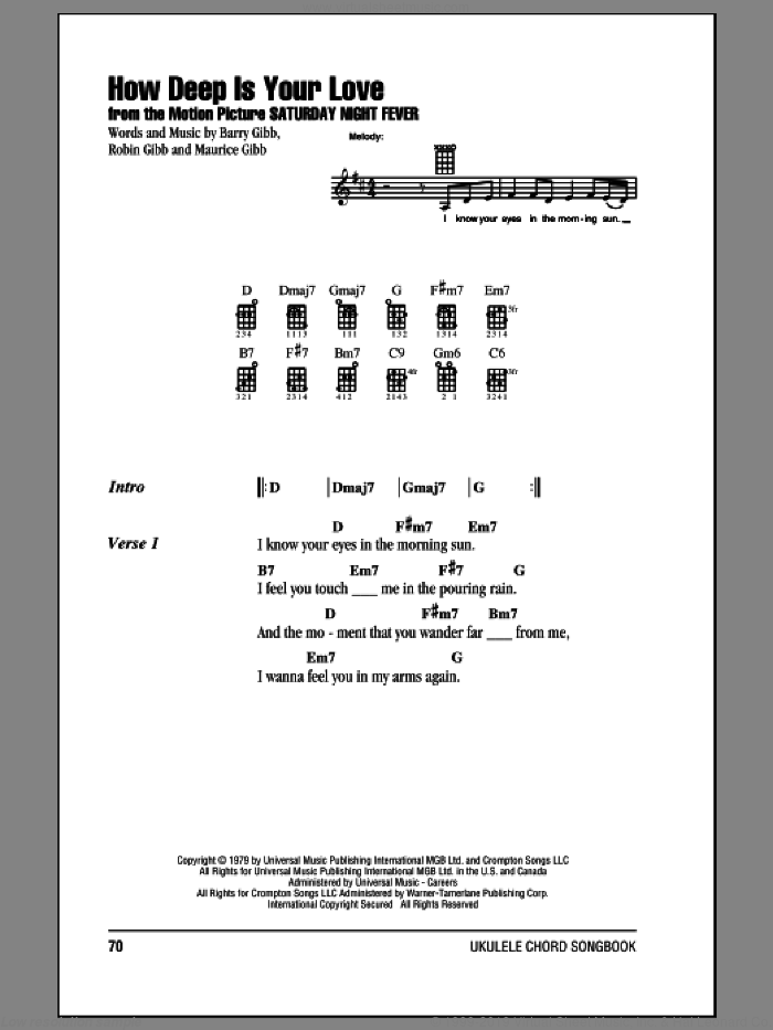 How Deep Is Your Love sheet music for ukulele (chords) by Bee Gees, Barry Gibb, Maurice Gibb and Robin Gibb, intermediate