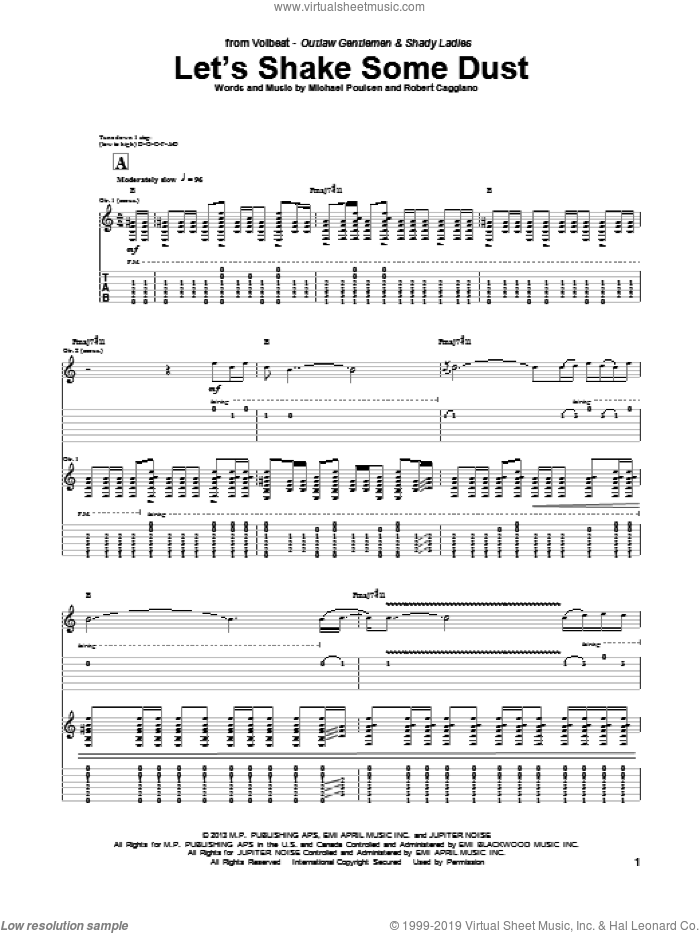 Let's Shake Some Dust sheet music for guitar (tablature) by Volbeat, intermediate guitar (tablature). Score Image Preview.