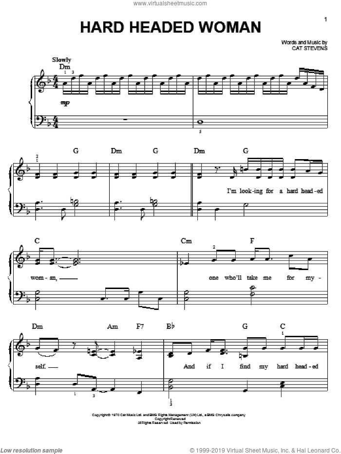 Hard Headed Woman sheet music for piano solo by Cat Stevens, easy skill level