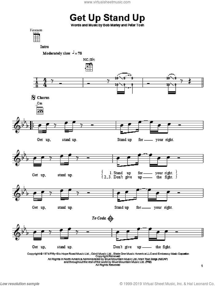 Get Up Stand Up sheet music for ukulele by Bob Marley, intermediate skill level