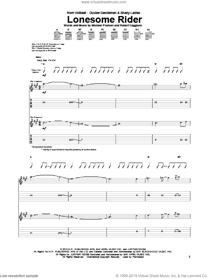 Lonesome Rider sheet music for guitar (tablature) by Volbeat. Score Image Preview.
