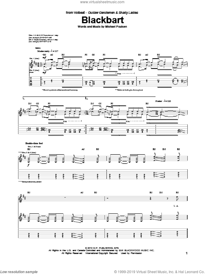 Blackbart sheet music for guitar (tablature) by Volbeat, intermediate guitar (tablature). Score Image Preview.