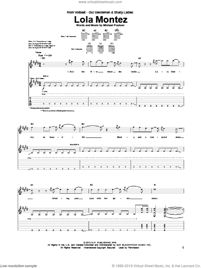 Lola Montez sheet music for guitar (tablature) by Volbeat, intermediate skill level