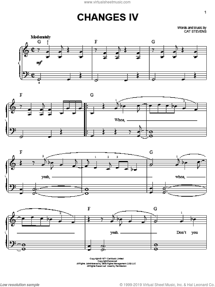 Changes IV sheet music for piano solo by Cat Stevens. Score Image Preview.