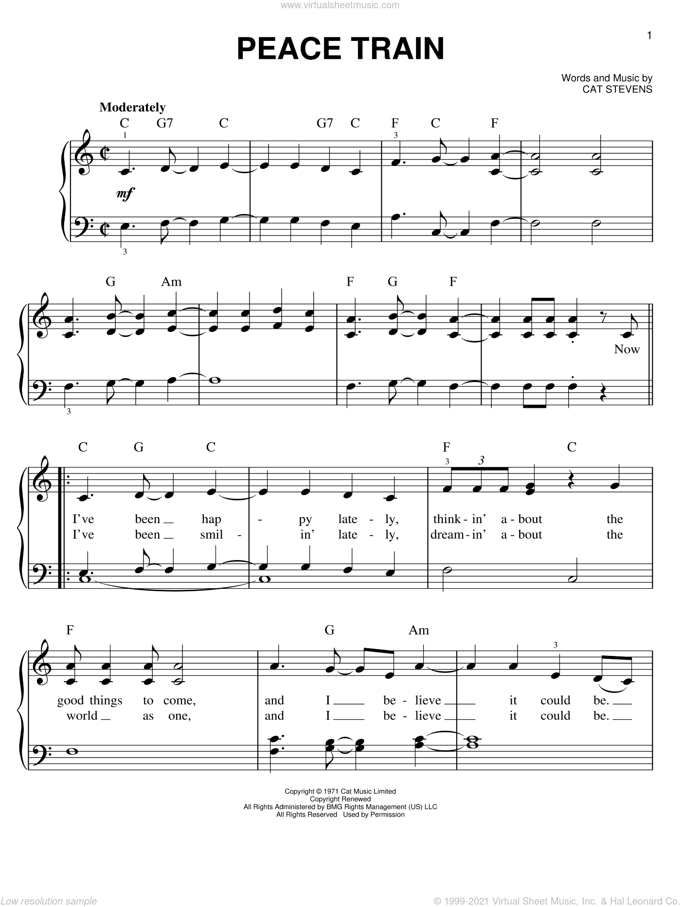 Peace Train sheet music for piano solo by Cat Stevens. Score Image Preview.