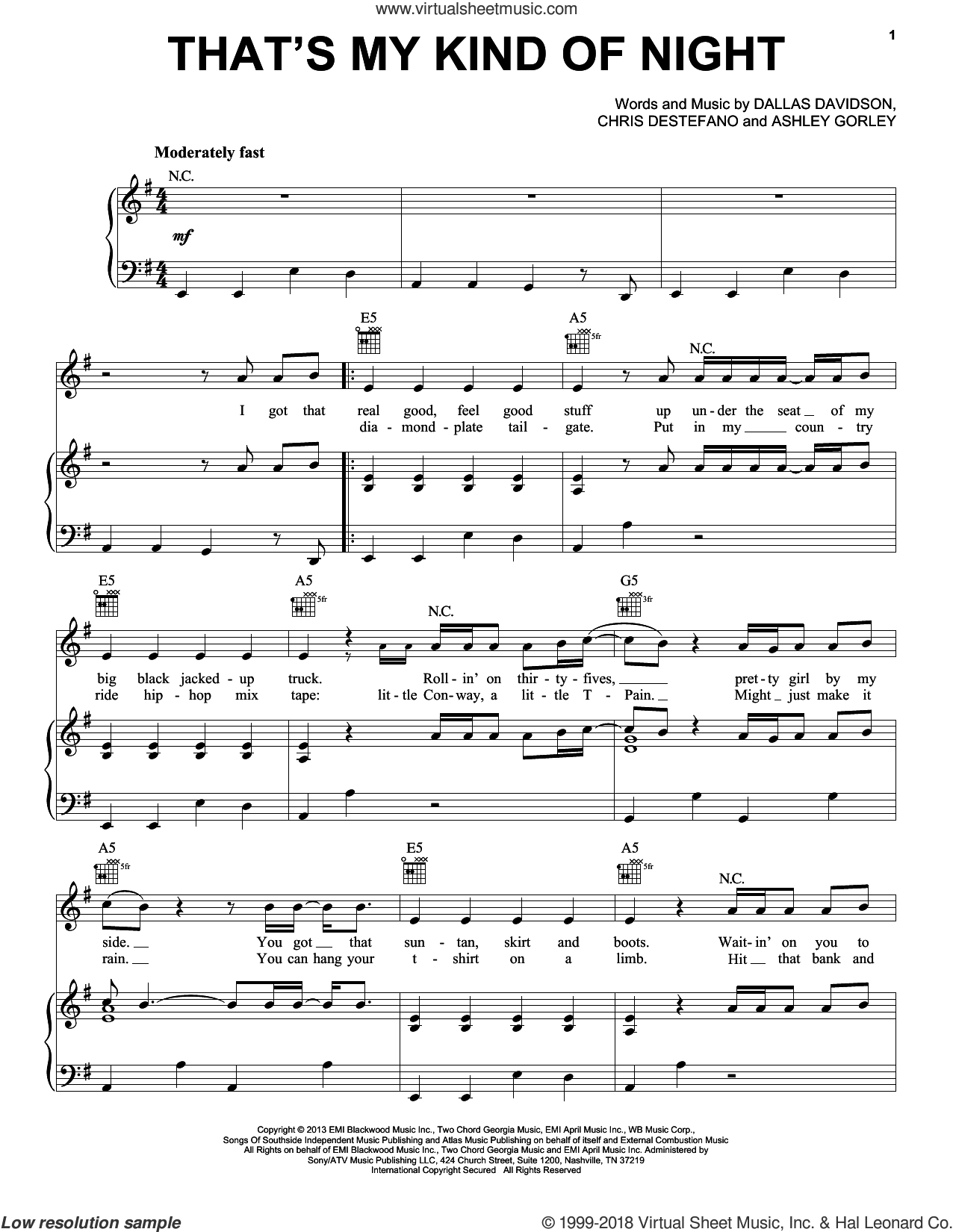 That's My Kind Of Night sheet music for voice, piano or guitar by Luke Bryan, intermediate skill level