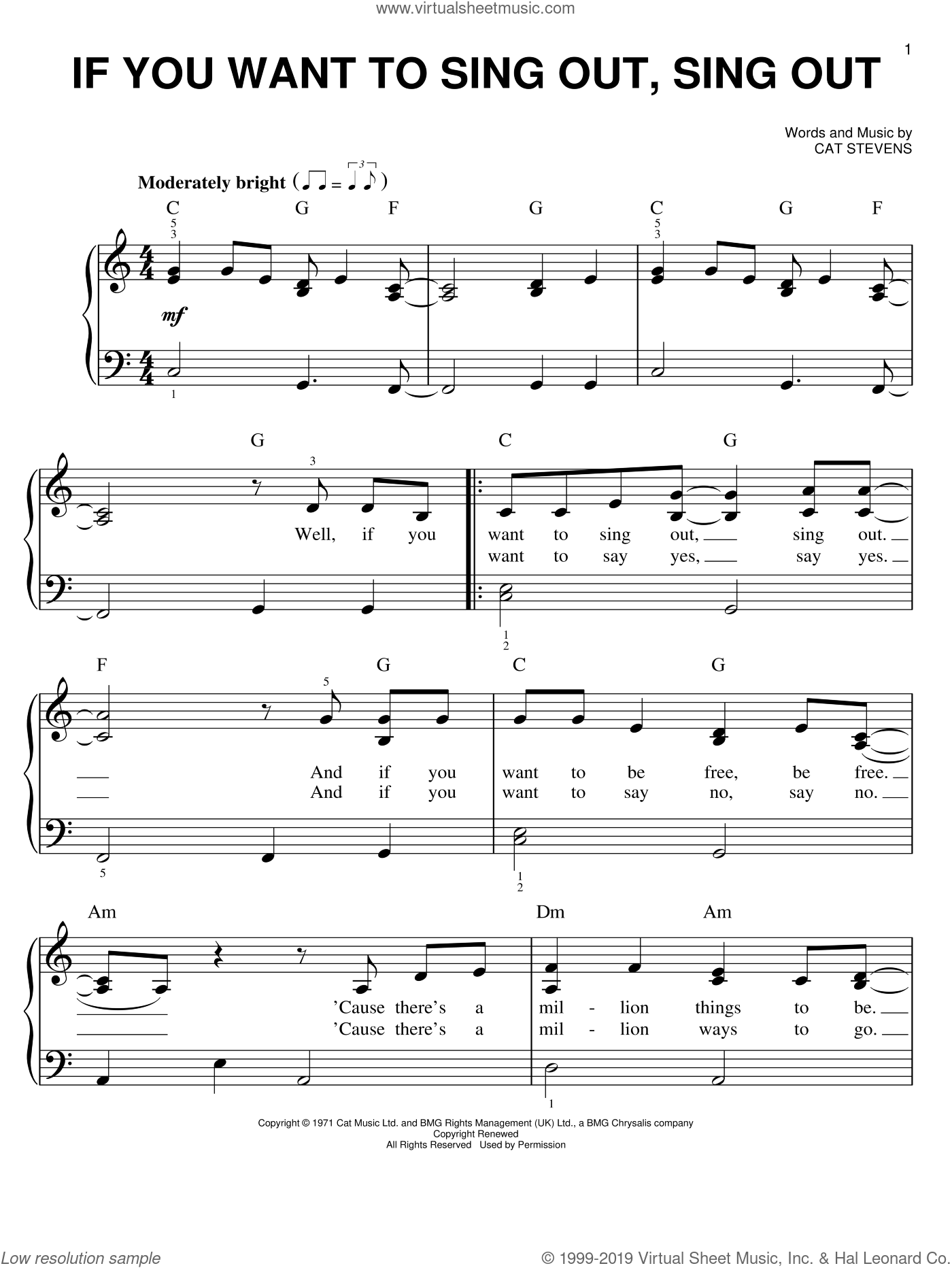 If You Want To Sing Out, Sing Out sheet music for piano solo by Cat Stevens, easy skill level