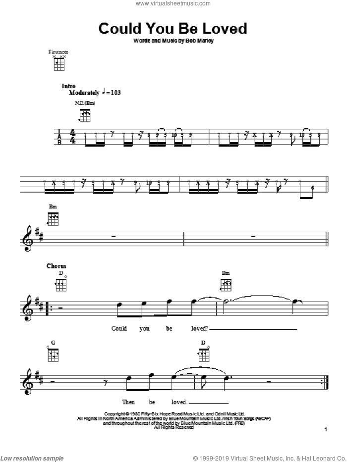 Could You Be Loved sheet music for ukulele by Bob Marley, intermediate skill level