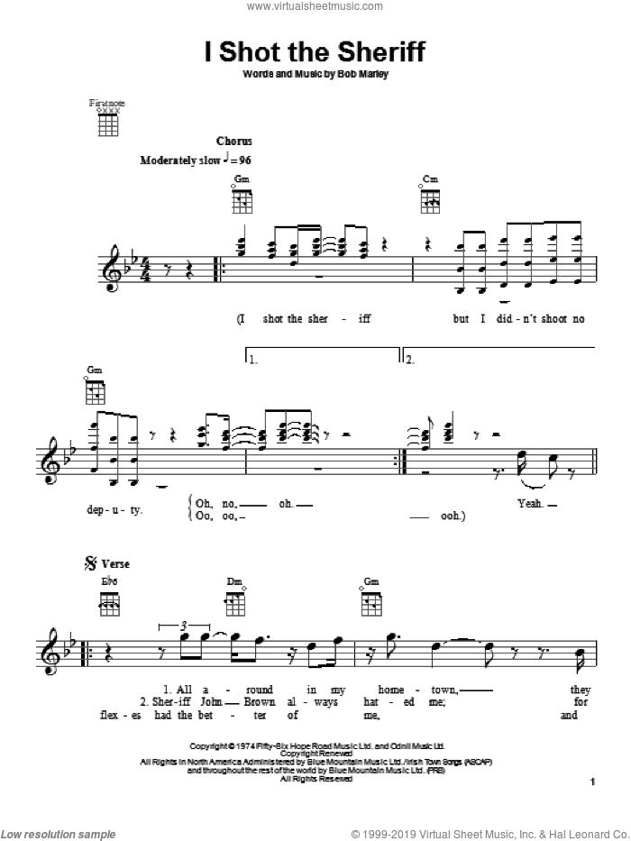 I Shot The Sheriff sheet music for ukulele by Bob Marley and Eric Clapton, intermediate skill level