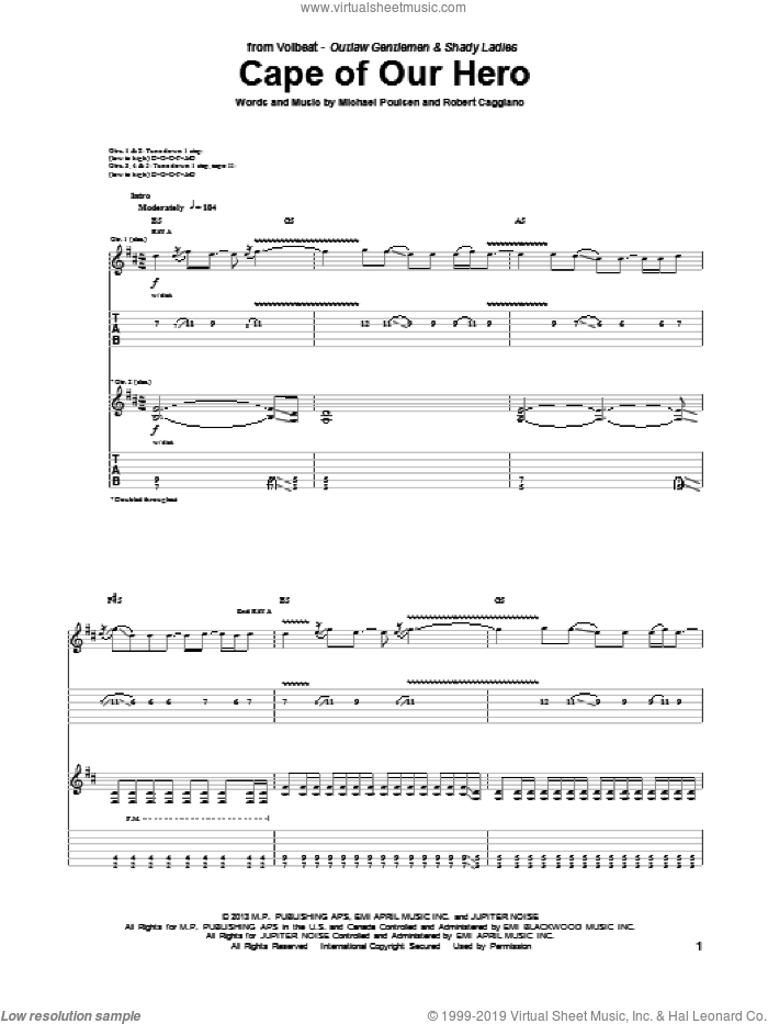 Cape Of Our Hero sheet music for guitar (tablature) by Volbeat, intermediate