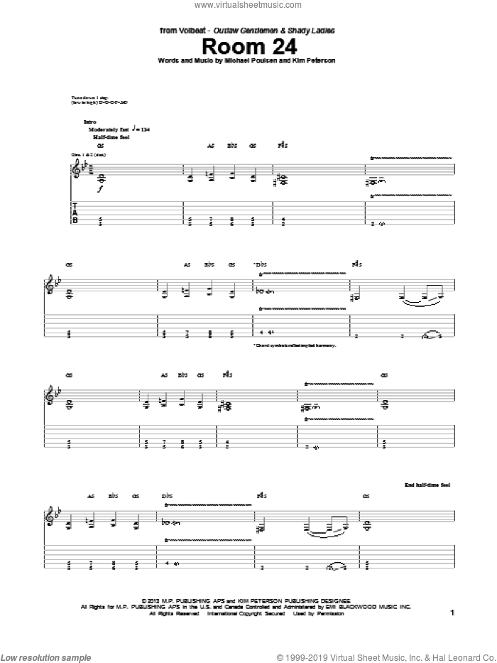 Room 24 sheet music for guitar (tablature) by Volbeat