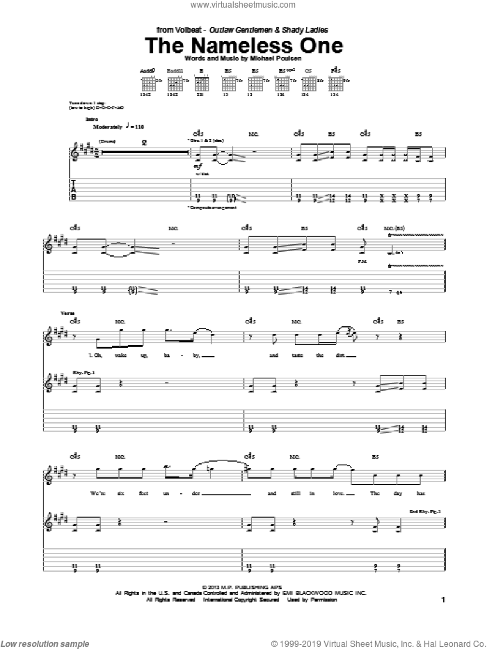 The Nameless One sheet music for guitar (tablature) by Volbeat, intermediate. Score Image Preview.