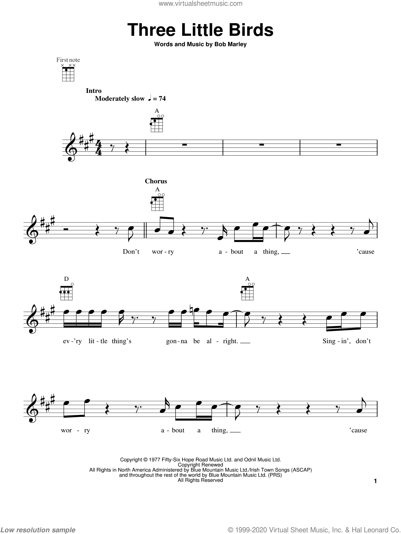 Three Little Birds sheet music for ukulele by Bob Marley, intermediate skill level