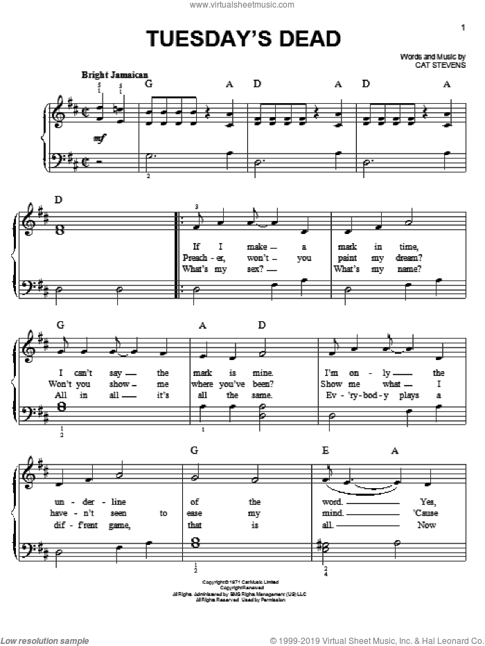 Tuesday's Dead sheet music for piano solo by Cat Stevens, easy. Score Image Preview.
