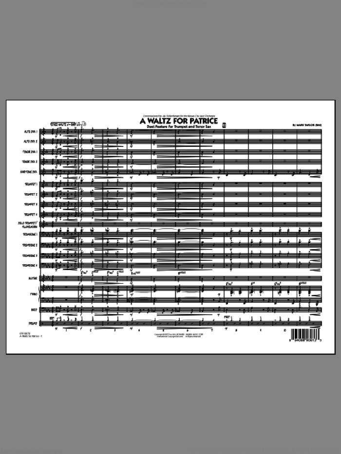 A Waltz for Patrice sheet music for jazz band (full score) by Mark Taylor