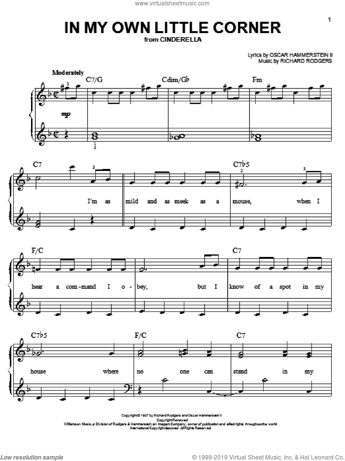 In My Own Little Corner sheet music for piano solo by Rodgers & Hammerstein, Oscar II Hammerstein and Richard Rodgers, easy skill level