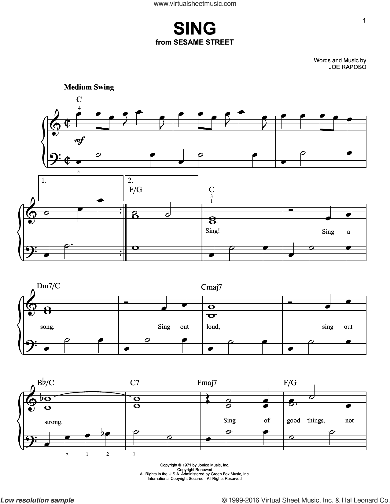 Sing sheet music for piano solo by Carpenters and Joe Raposo. Score Image Preview.