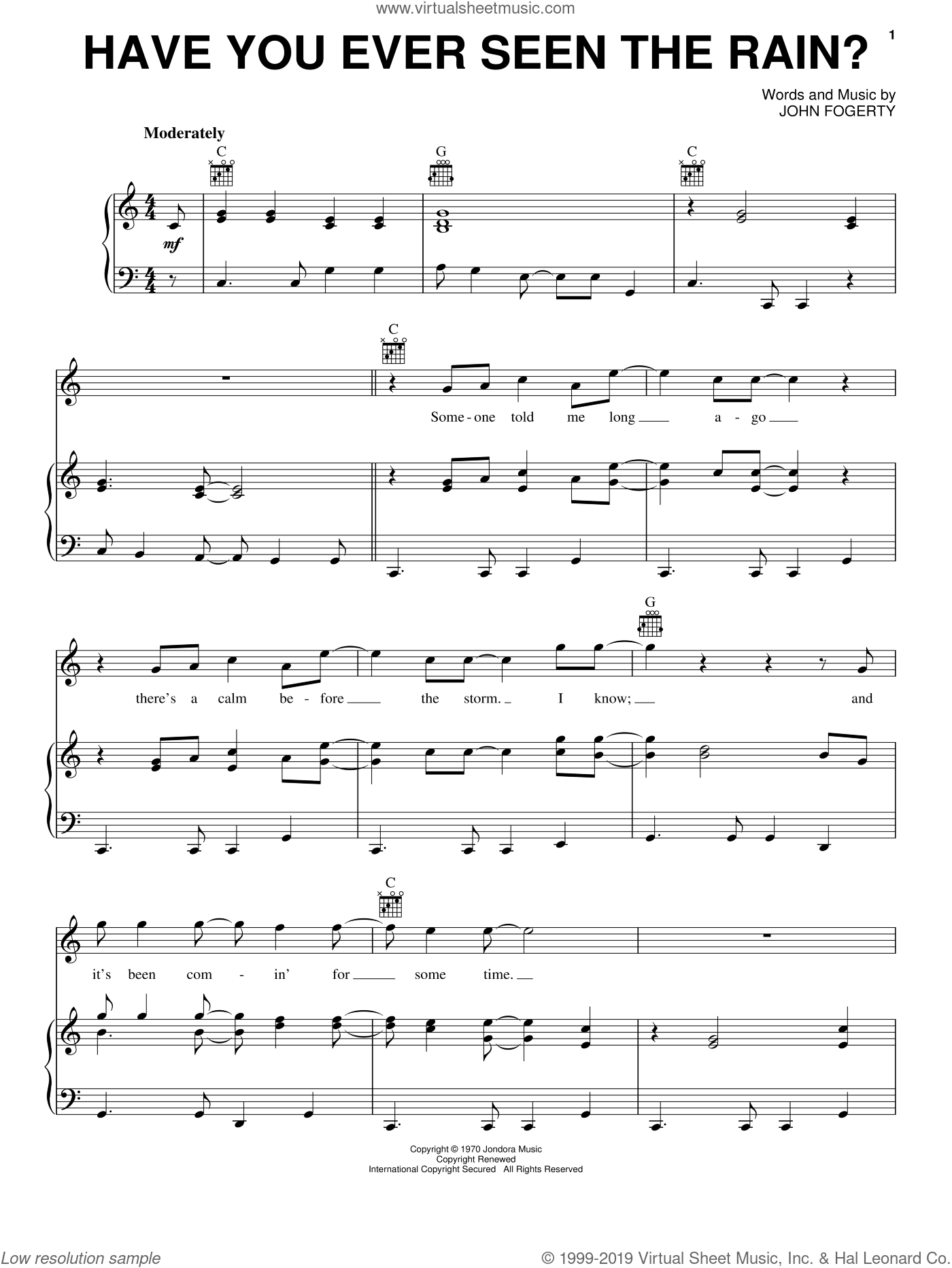 Have You Ever Seen The Rain? sheet music for voice, piano or guitar by John Fogerty and Creedence Clearwater Revival. Score Image Preview.