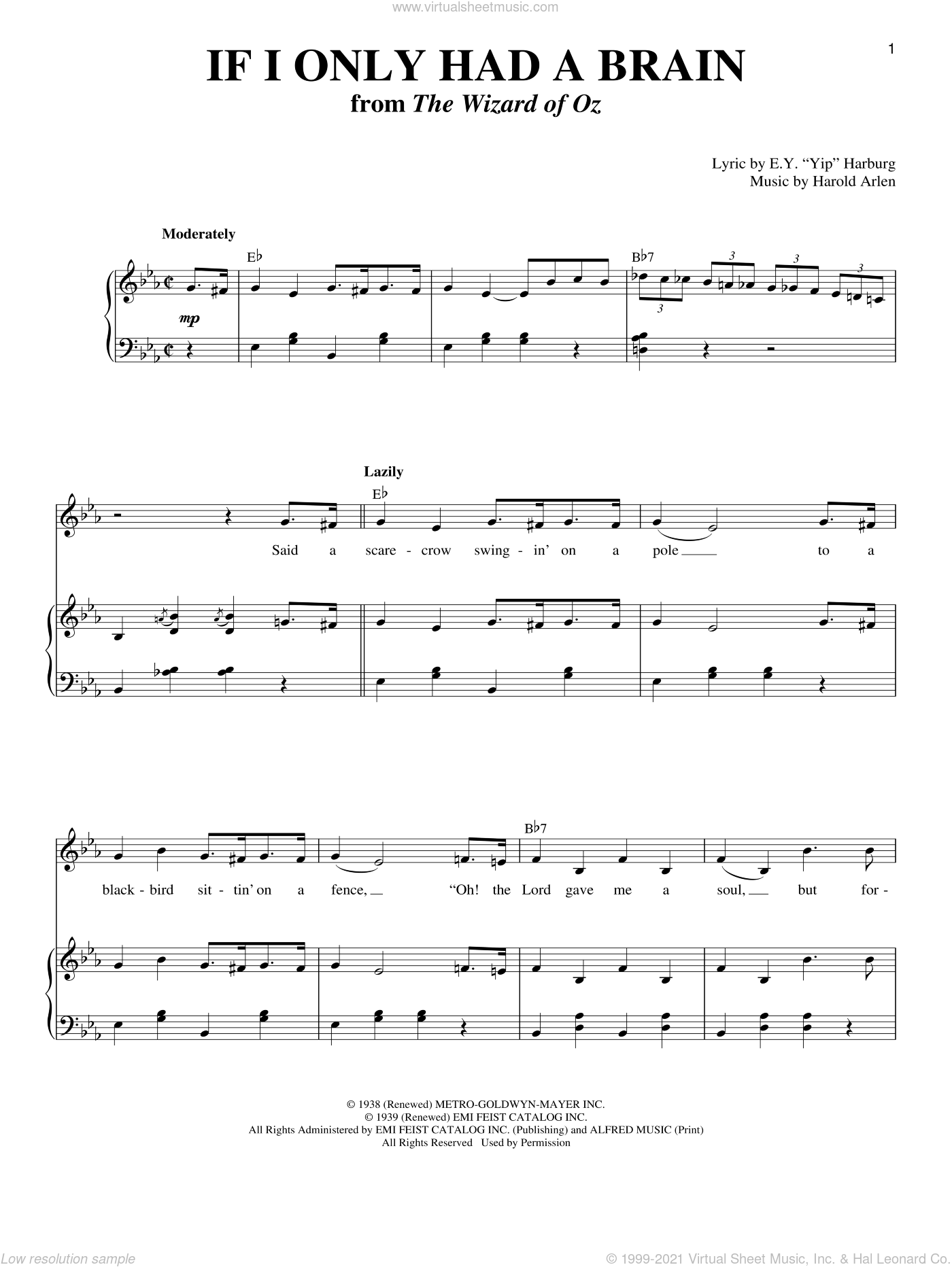If I Only Had A Brain sheet music for voice and piano by Harold Arlen and E.Y. Harburg, intermediate skill level