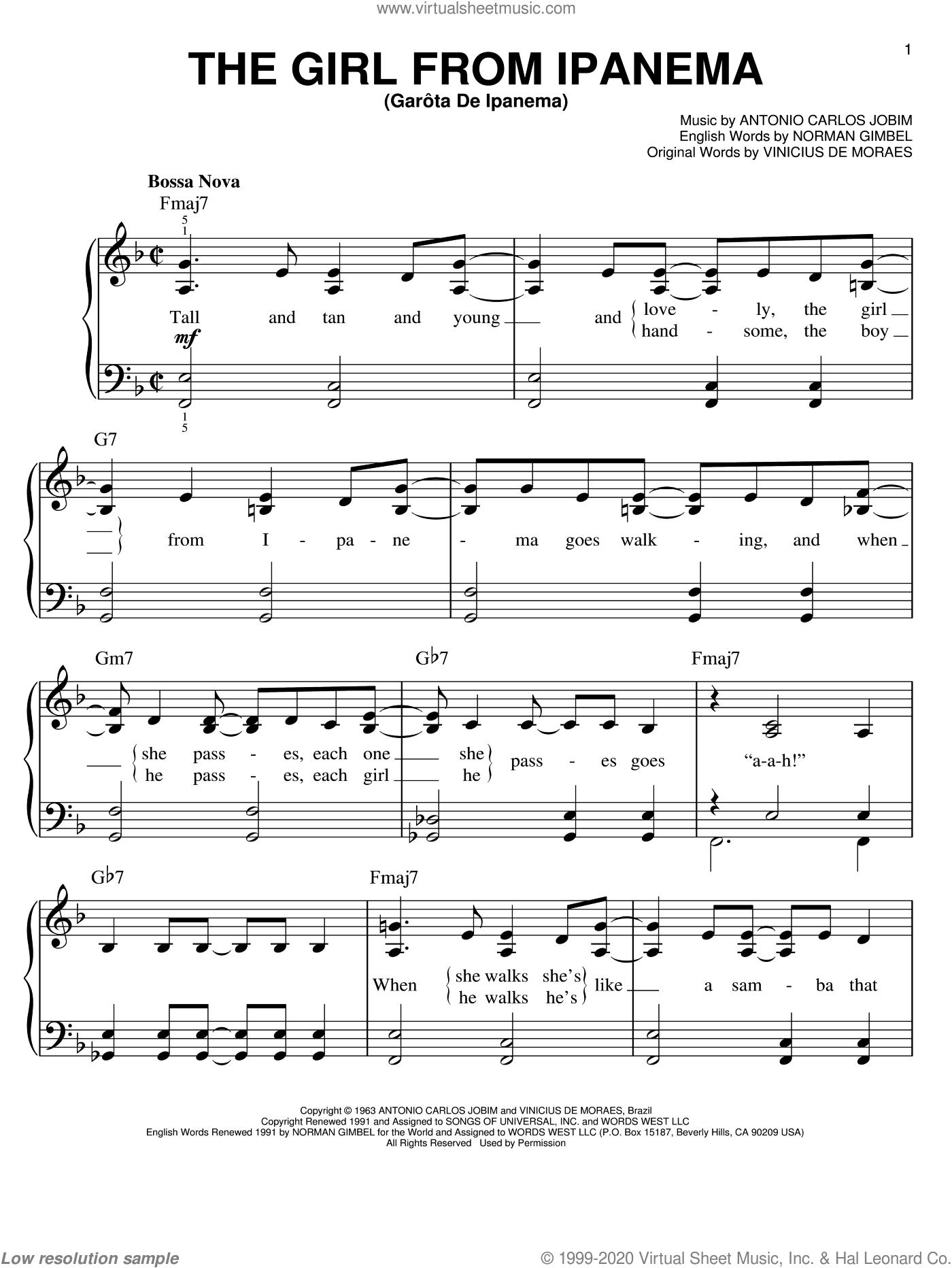 The Girl From Ipanema (GarA'ta De Ipanema) sheet music for piano solo by Antonio Carlos Jobim, easy skill level