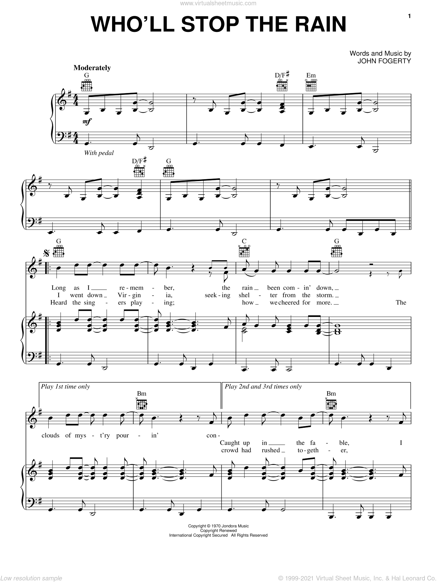 Who'll Stop The Rain sheet music for voice, piano or guitar by John Fogerty and Creedence Clearwater Revival. Score Image Preview.