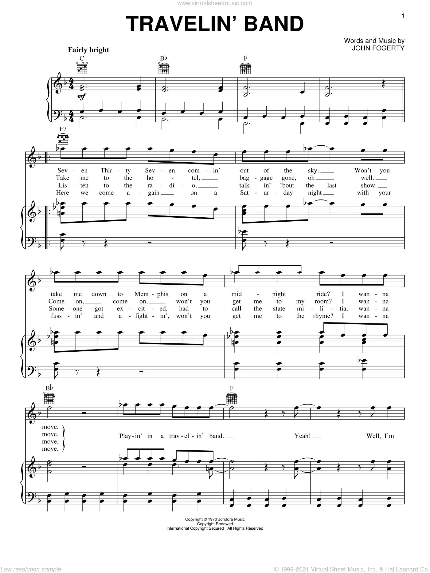 Travelin' Band sheet music for voice, piano or guitar by John Fogerty and Creedence Clearwater Revival. Score Image Preview.