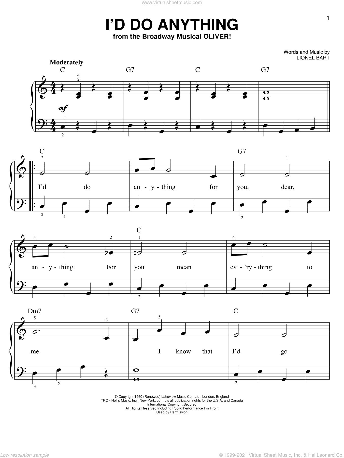 I'd Do Anything sheet music for piano solo by Lionel Bart, easy piano. Score Image Preview.