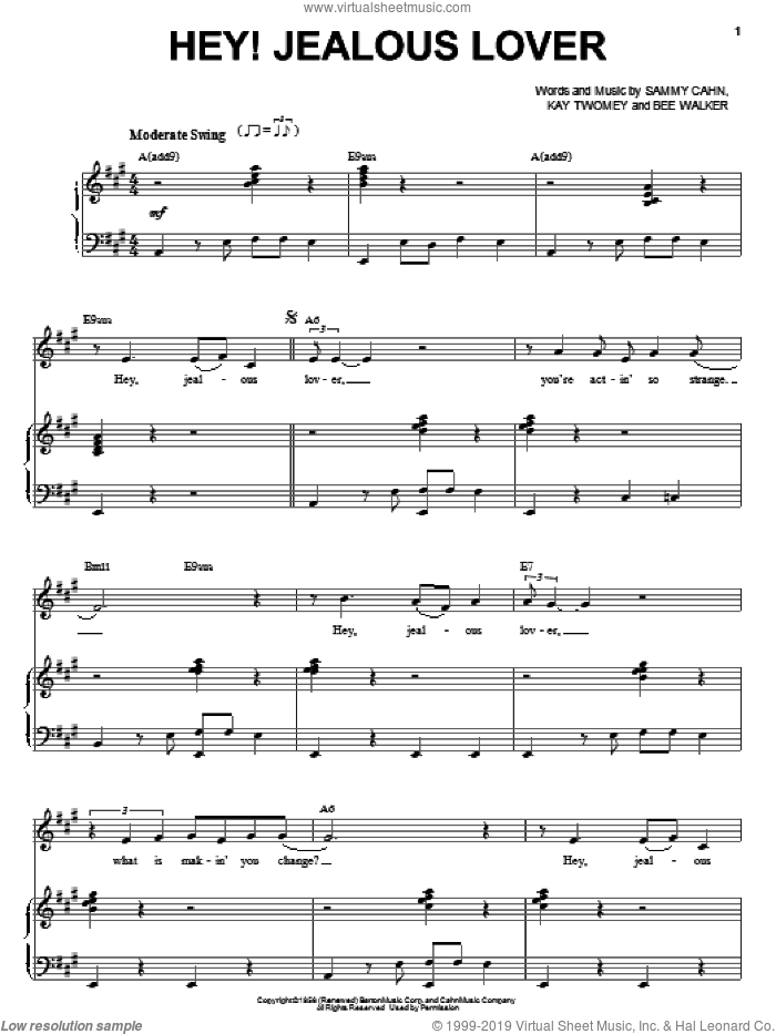 Hey! Jealous Lover sheet music for voice and piano by Frank Sinatra, Bee Walker, Kay Twomey and Sammy Cahn, intermediate skill level