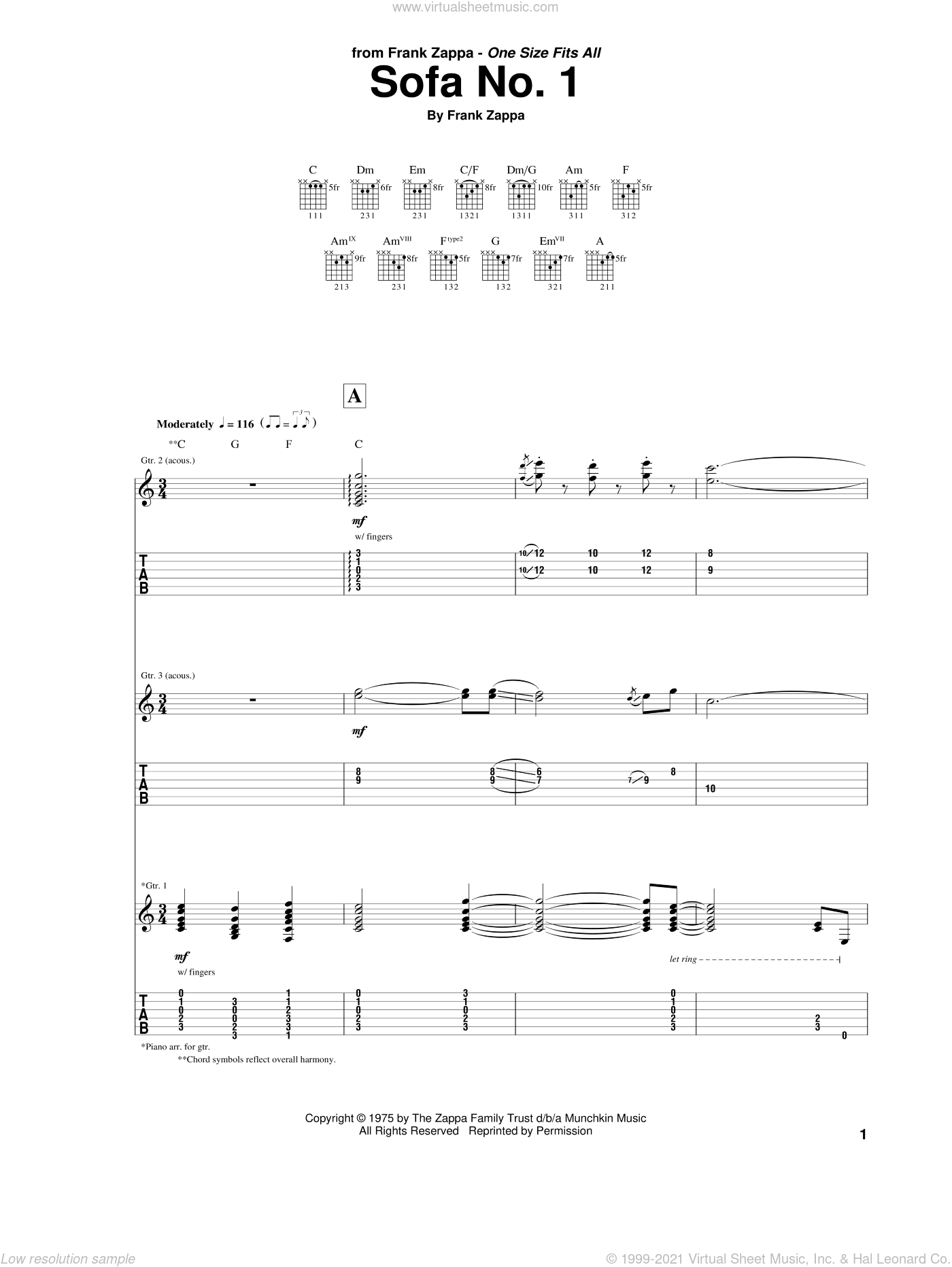 Sofa No. 1 sheet music for guitar (tablature) by Frank Zappa, intermediate