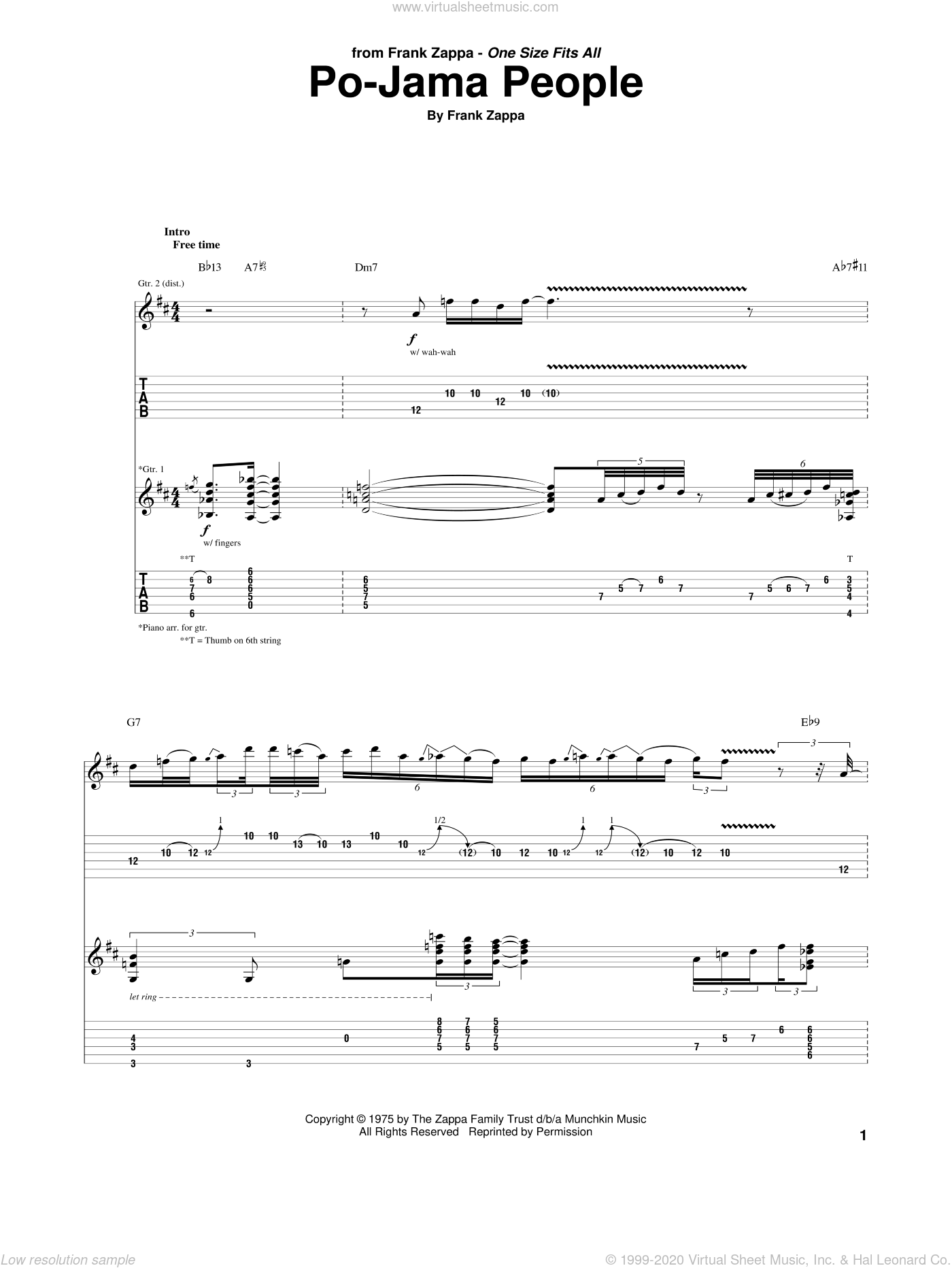 Po-Jama People sheet music for guitar (tablature) by Frank Zappa, intermediate. Score Image Preview.