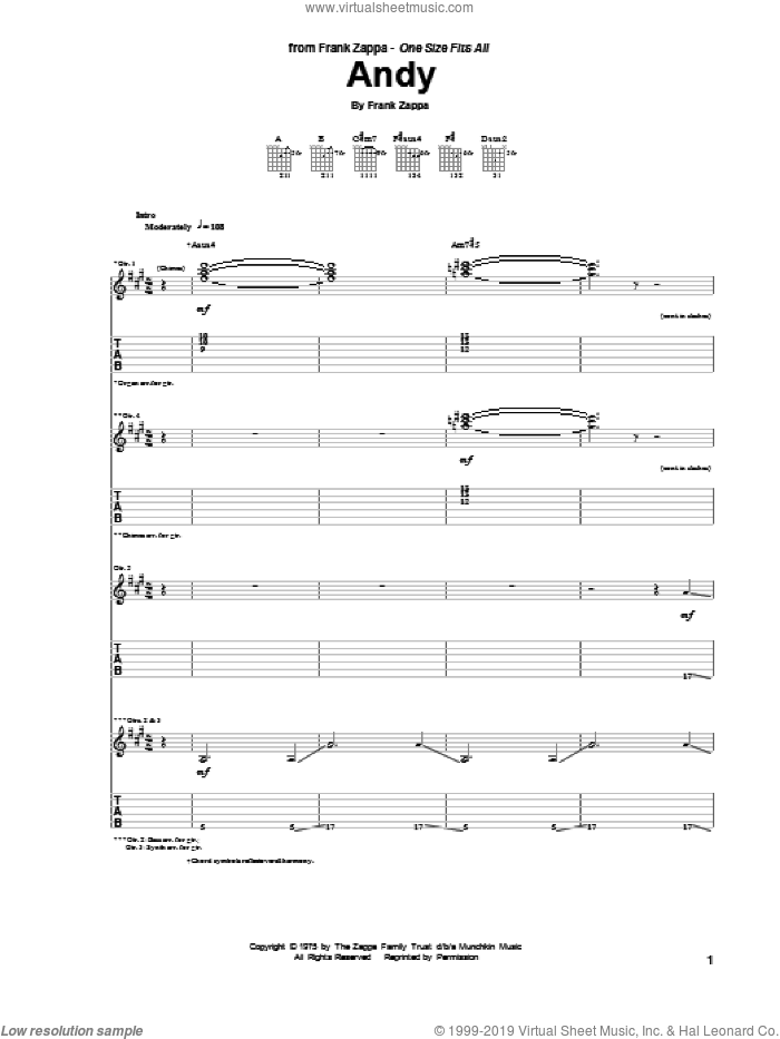 Andy sheet music for guitar (tablature) by Frank Zappa. Score Image Preview.