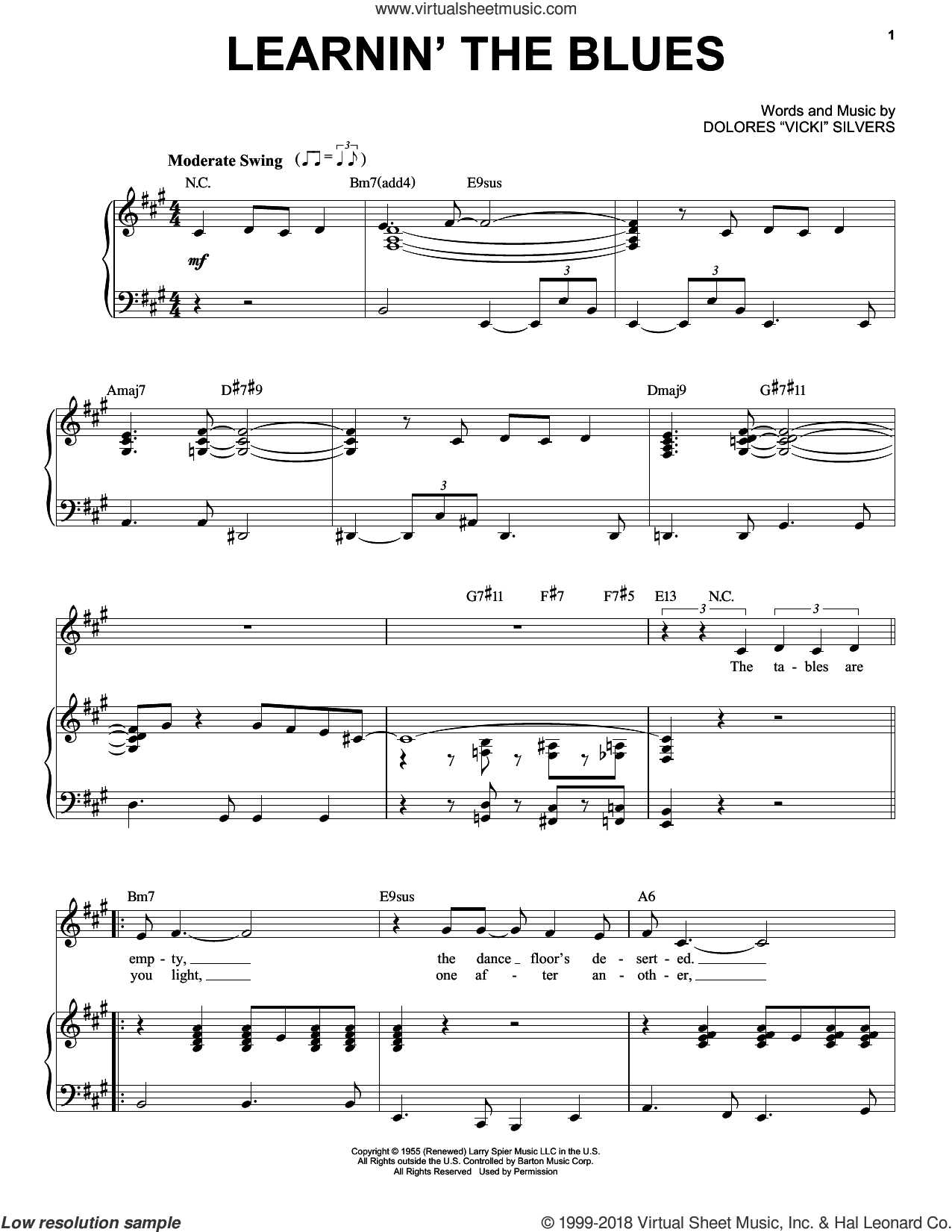 Learnin' The Blues sheet music for voice and piano by Frank Sinatra, Come Fly Away (Musical), Rosemary Clooney and Dolores Vicki Silvers, intermediate skill level