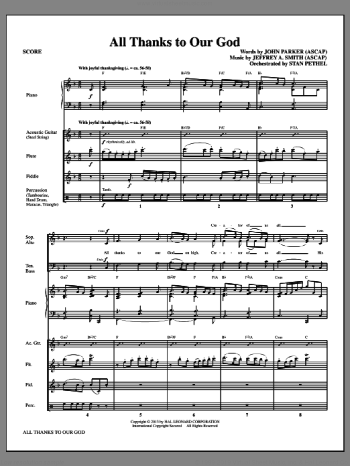 All Thanks to Our God (COMPLETE) sheet music for orchestra/band by John Parker and Jeffrey A. Smith, intermediate orchestra/band. Score Image Preview.