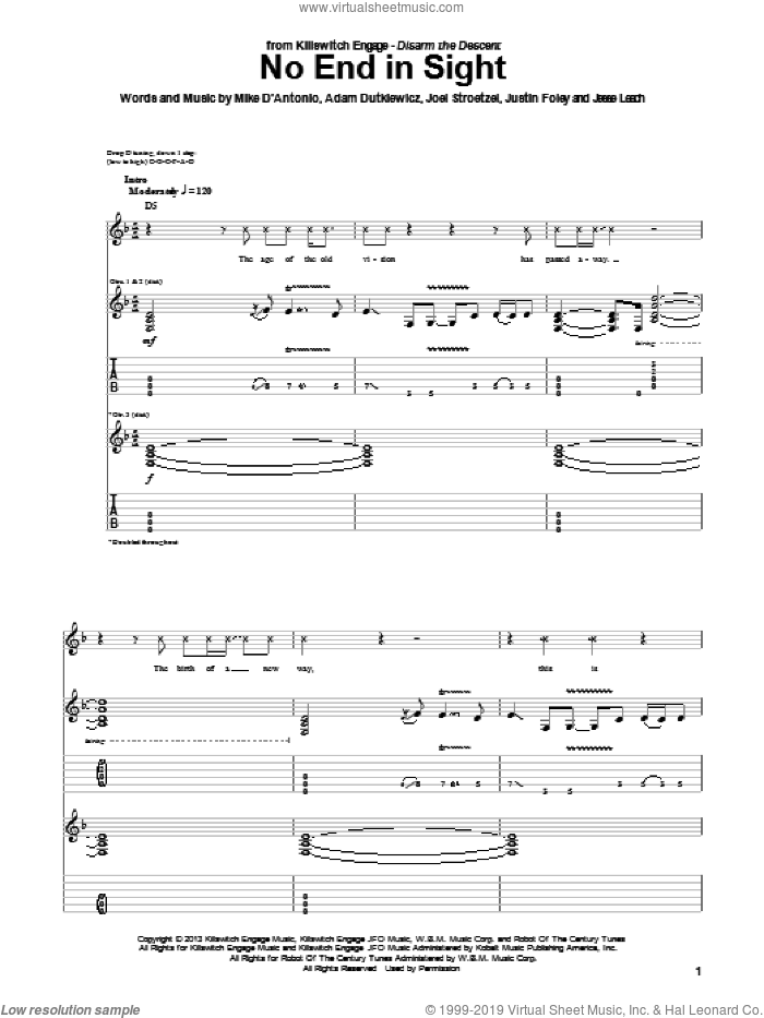 No End In Sight sheet music for guitar (tablature) by Killswitch Engage. Score Image Preview.