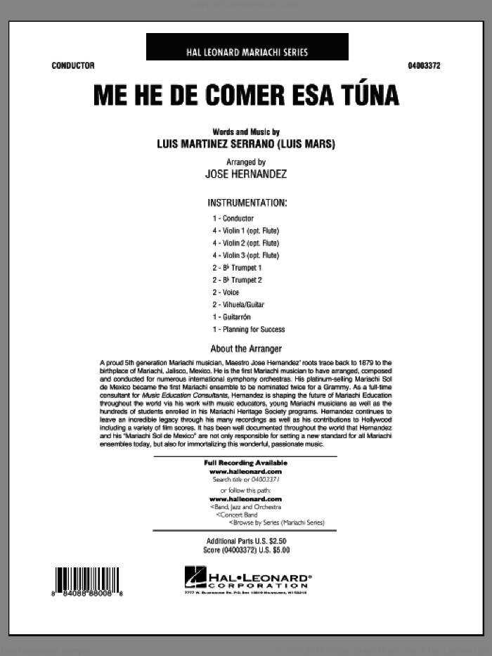 Me He de Comer Esa Tuna (COMPLETE) sheet music for concert band by Luis Martinez Serrano, intermediate skill level