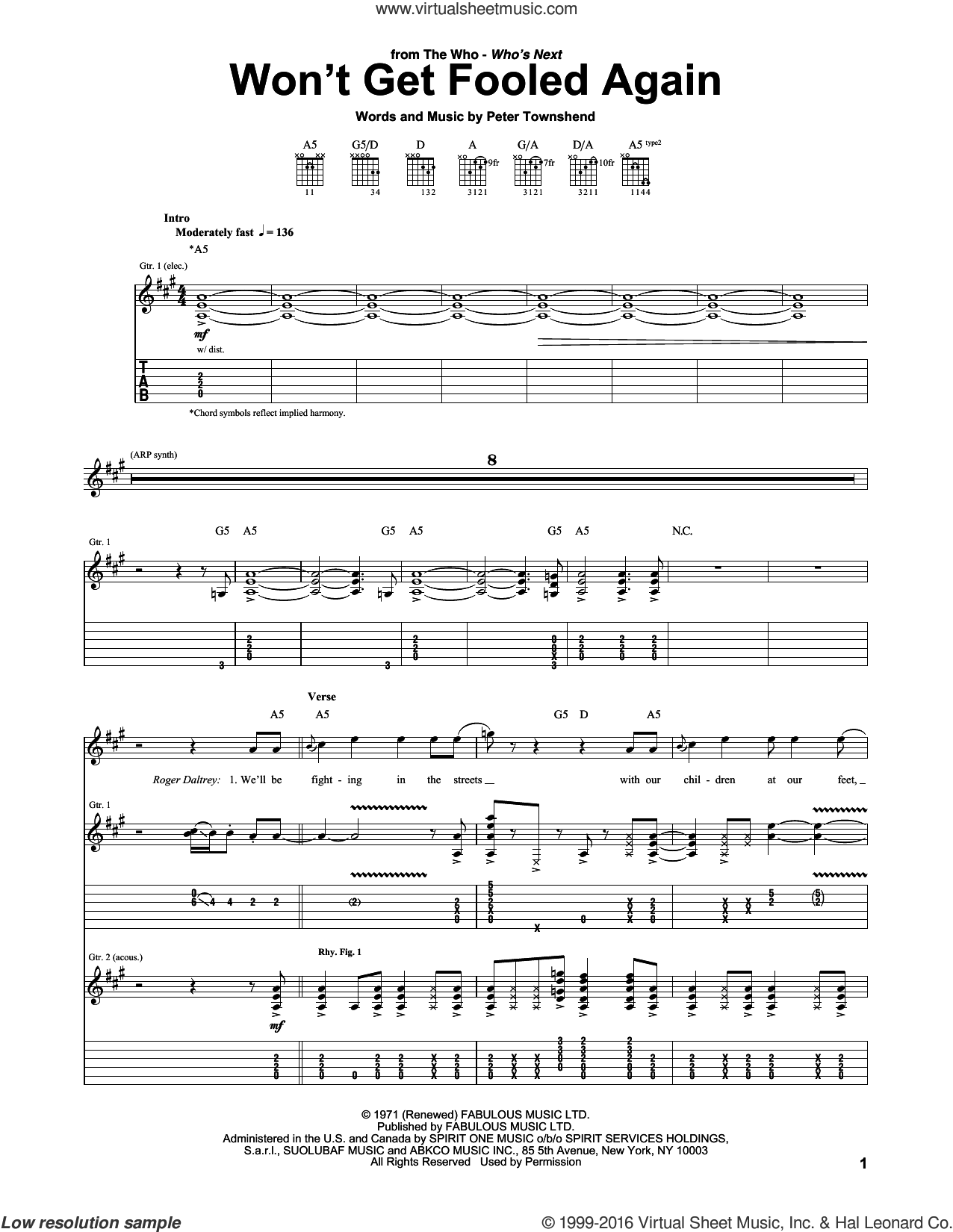 Won't Get Fooled Again sheet music for guitar (tablature) by The Who, intermediate skill level