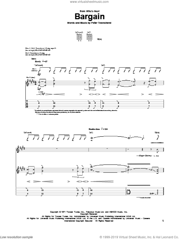 Bargain sheet music for guitar (tablature) by The Who. Score Image Preview.
