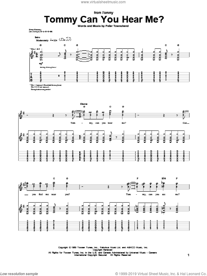 Tommy Can You Hear Me? sheet music for guitar (tablature) by The Who. Score Image Preview.
