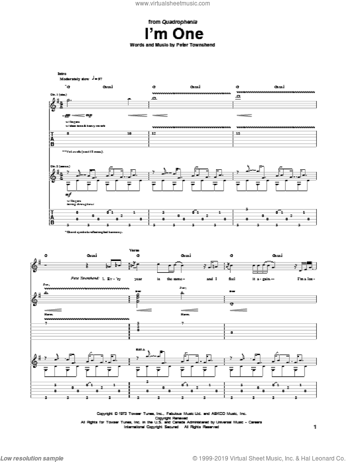 I'm One sheet music for guitar (tablature) by The Who, intermediate skill level