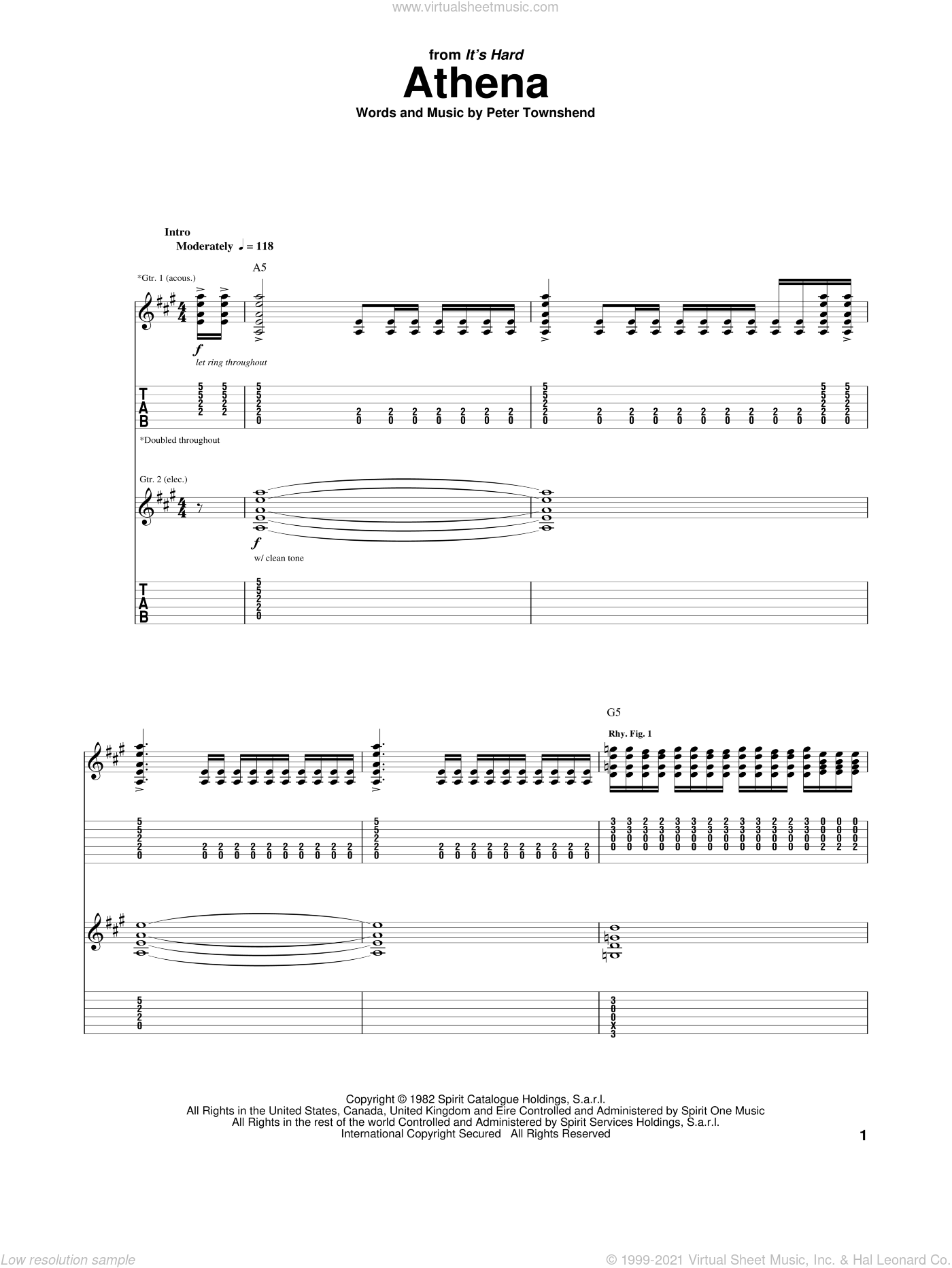 Athena sheet music for guitar (tablature) by The Who, intermediate. Score Image Preview.