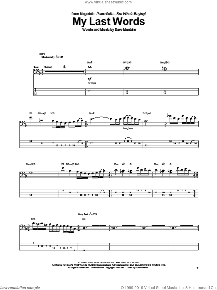 My Last Words sheet music for bass (tablature) (bass guitar) by Megadeth, intermediate. Score Image Preview.